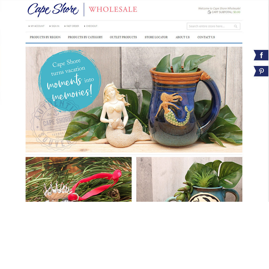 Cape Shore Wholesale website screenshot