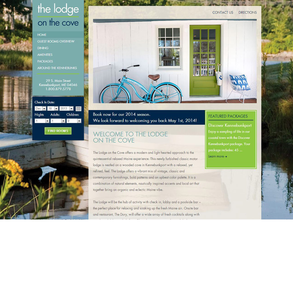 The Lodge on the Cove website screenshot