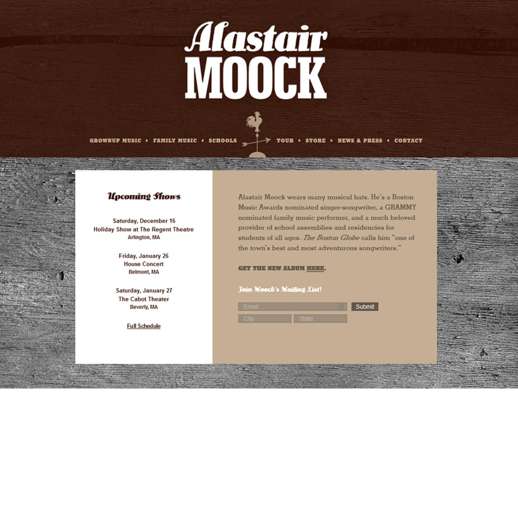 Alastair Moock Music website screenshot