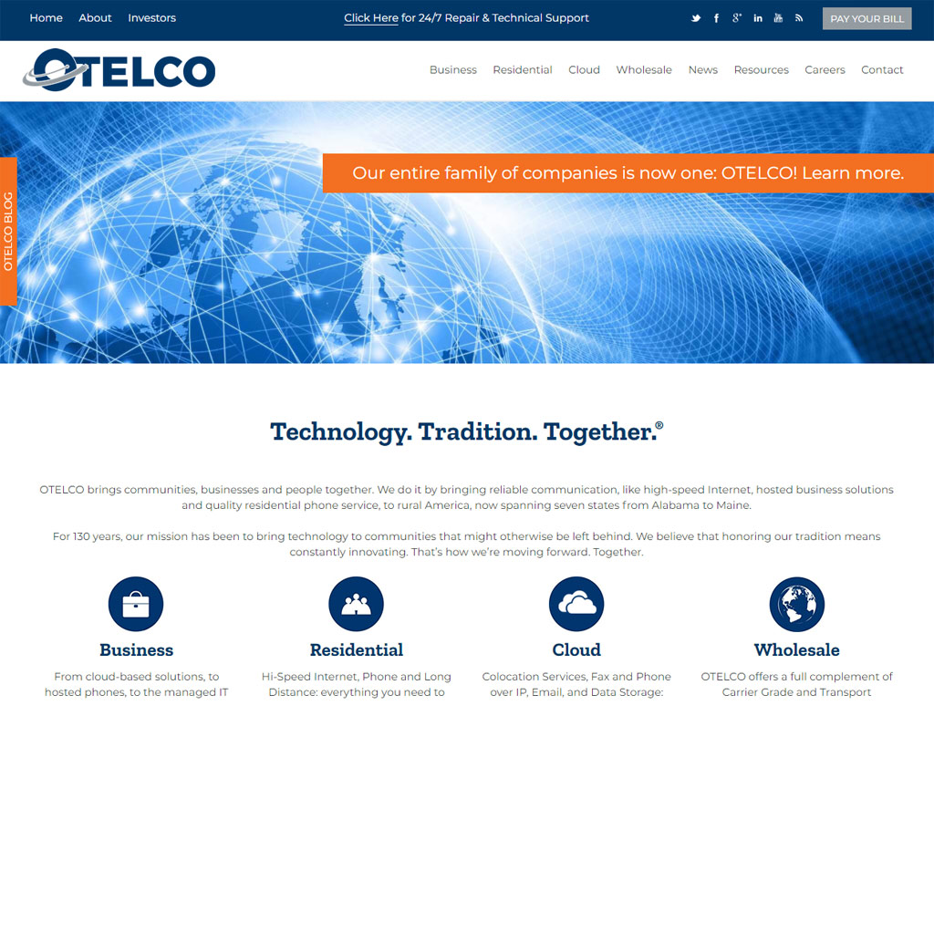 OTELCO website screenshot