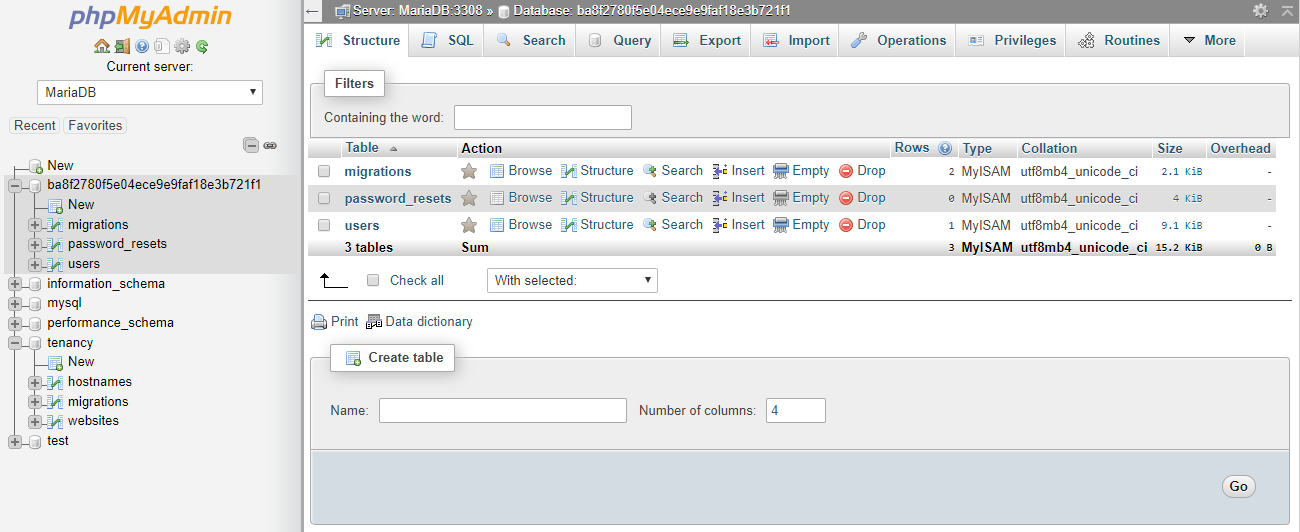 New tenant database view