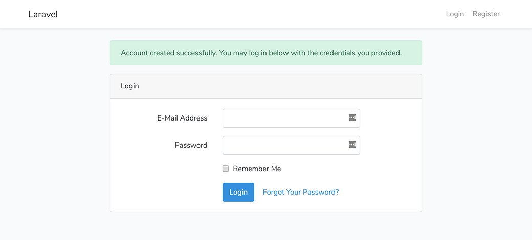 Laravel account created successfully