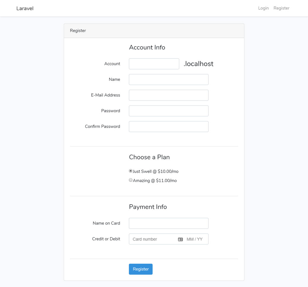 Registration page with account plan and payment